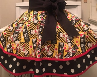 Betty Boop Fancy Apron, Hostess Apron, Half Apron, Retro Ladies Apron, Vintage Inspired, Cartoon Apron, Gift for Her, BirthdayGift, FreeShip