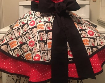 Betty Boop Fancy Apron XL, Cooking Apron, Half Apron, Retro Ladies Apron, Vintage Inspired Apron, Gift for Her, Birthday Gift, Free Shipping