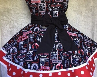 Jazz Music Apron, Ladies Fancy Apron, Gift for Her, Christmas Gift, Vintage Inspired Apron, Hostess Apron, Jazz Artists, Free US Shipping
