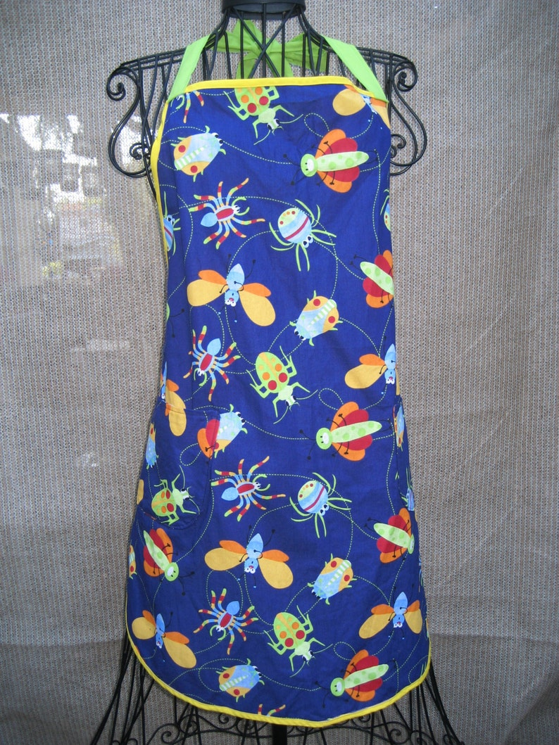 Unisex Apron Free US Shipping Full Apron Gift for him Handmade Gift for Her Tween Apron Cooking Apron Student Apron Bugs Apron