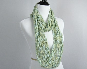 Cowl, Infinity Scarf, Crocheted, Cotton Rayon Boucle' Yarn, Celadon, Blue Green, Cool, Shiny, Elegant Wrap, Handmade Gift, Scarf, Decorative