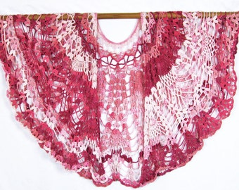 Crocheted Lacy Shawl, Pineapple Design, Cotton Yarn, Handmade, Original Design, Tone on Tone Pinks, Circular Shawl, Lacy Wrap, Sophisticated
