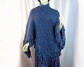 Hand Knit Poncho, Mock Turtleneck, Chunky Knit, Wool Acrylic, Alpaca Blend Yarn, Ice Blue, Fringed Poncho, Soft Cozy Wrap, Winter Wear, Gift