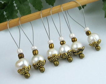 Stitch Markers, Knitting, Freshwater Pearls, Snag Free, Jeweled Tool, Lustrous White, Knitting Accessory, Supplies, Handmade, Knitters Gift