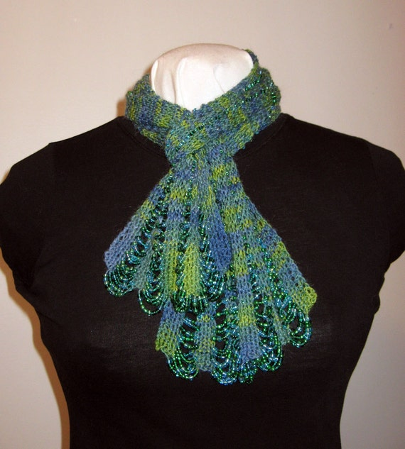 Hand Knitting Pattern Pdf Beaded Swag Scarf Original Etsy