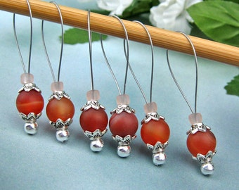Stitch Markers, Knitting, Orange Carnelian, Semi-Precious Stones, Snag Free, Knitting Tool, Knitting Accessory, Jeweled Tool, Knitters Gift