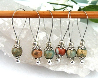 Stitch Markers, Knitting, Picasso Jasper, Semi-Precious Stones, Beige Green, Snag Free, Knitting Tool, Knitting Accessory, Gift for Knitters