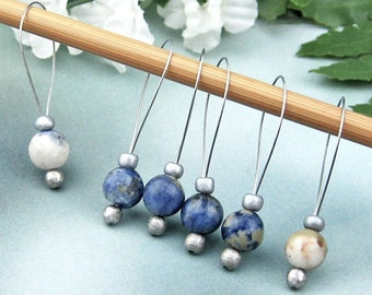 Stitch Markers, Knitting, Sodalite, Semi-Precious Stones, Denim Blue, Snag Free, Knitting Tool, Knitting Accessory, Handmade, Knitters Gift