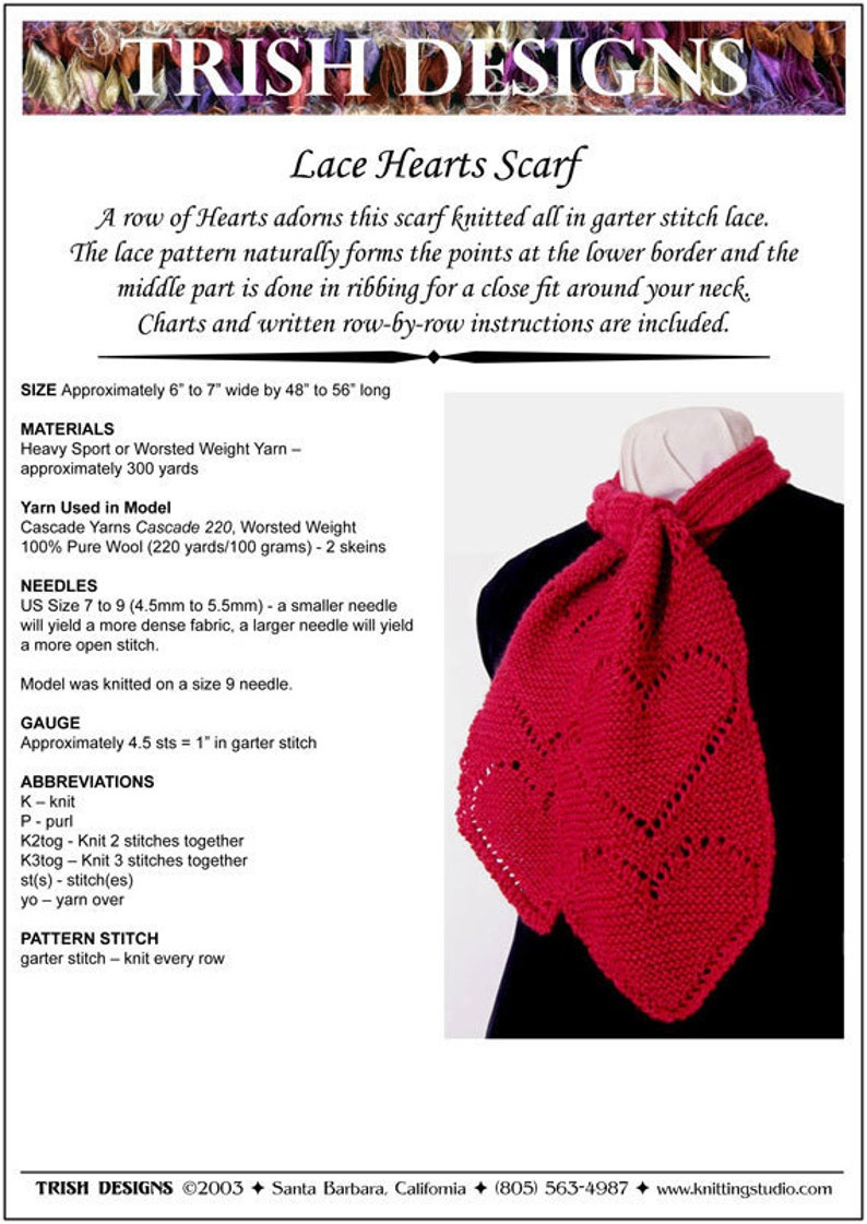 Hand Knit Pattern Lace Hearts Scarf Knitting Pattern Pdf Etsy