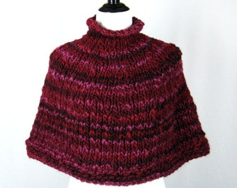 Burgundy Capelet, Hand Knit, Pullover Poncho, Wool, Acrylic Blend Yarn, Thick n Thin, Soft, Warm, Deep Rich Colors, Cozy Wrap, Winter Wear