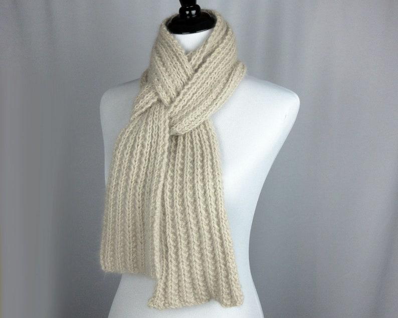 Angora Scarf Hand Knit Textured Rib Scarf Luxuriously Soft Etsy