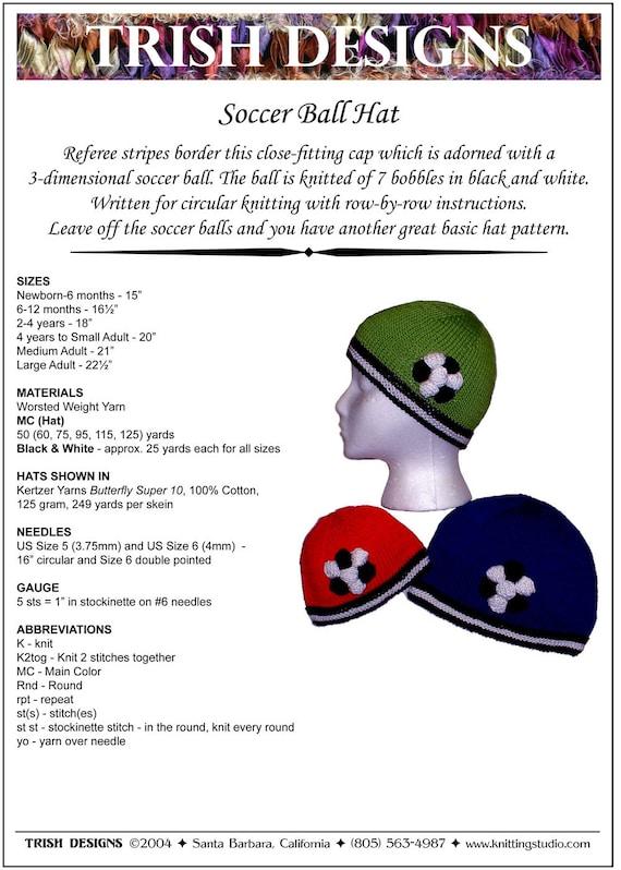 Hand Knit Pattern Soccer Ball Hat Knitting Pattern PDF Baby | Etsy