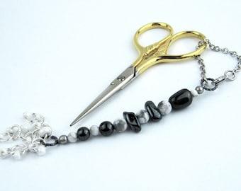 Scissors Fob, Hematite, Howlite, Silver, Key Fob, Purse Fob, DIY Crafts, Needlecrafts, Sewing, Knitting, Needleworkers Gift, Handmade