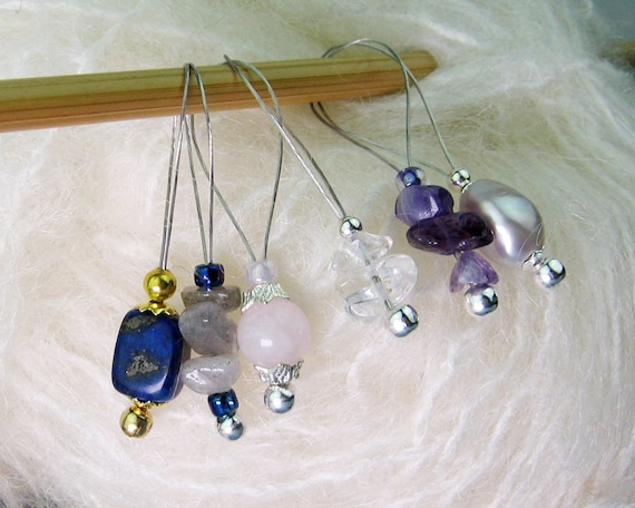 Iolite Gemstone Beads Knitting Accessory Stitch Markers for Knitting Snag Free Tool Gift for Knitters Wire Loop Markers Blue Violet