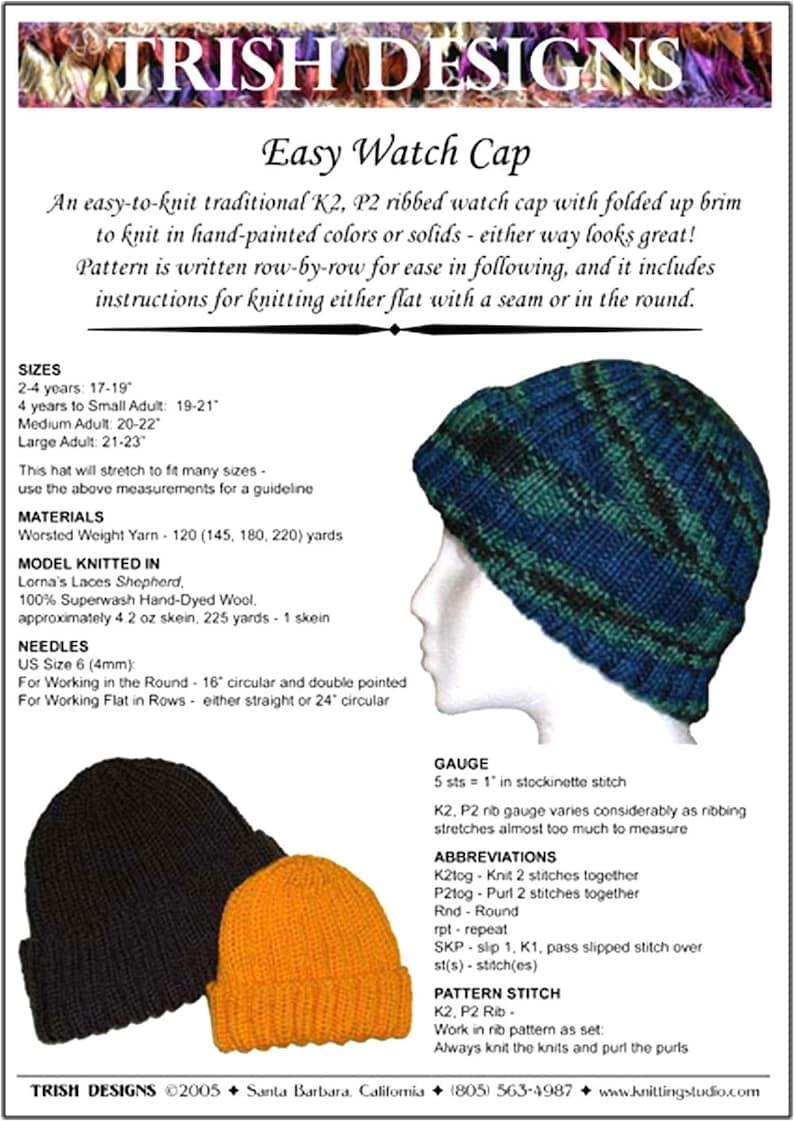 48ebb81dd96d5 Hand Knit Pattern, Watch Cap, Knitting Pattern PDF, Baby thru Large Adult,  Easy to Knit, Original Design, Trish Designs, Instant Download