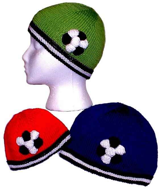 Hand Knit Pattern, Soccer Ball Hat, Knitting Pattern PDF, Baby to ...