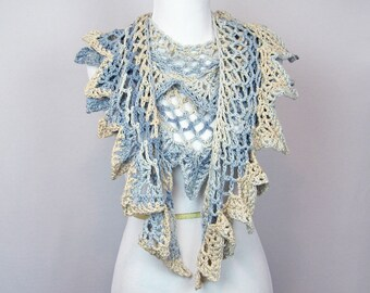 Crocheted Ruffled Scarf, Sand and Sea Colors, Cotton Ribbon, Luxurious, Beige Pale Blue, Handmade, Collar, Wrap, Extra Long, Silky Ribbon