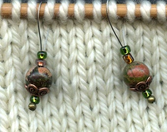 Stitch Markers, Knitting, Unakite, Semi-Precious Stones, Snag Free, Jeweled Tool, Knitting Accessory, Supplies, Handmade, Gift for Knitters