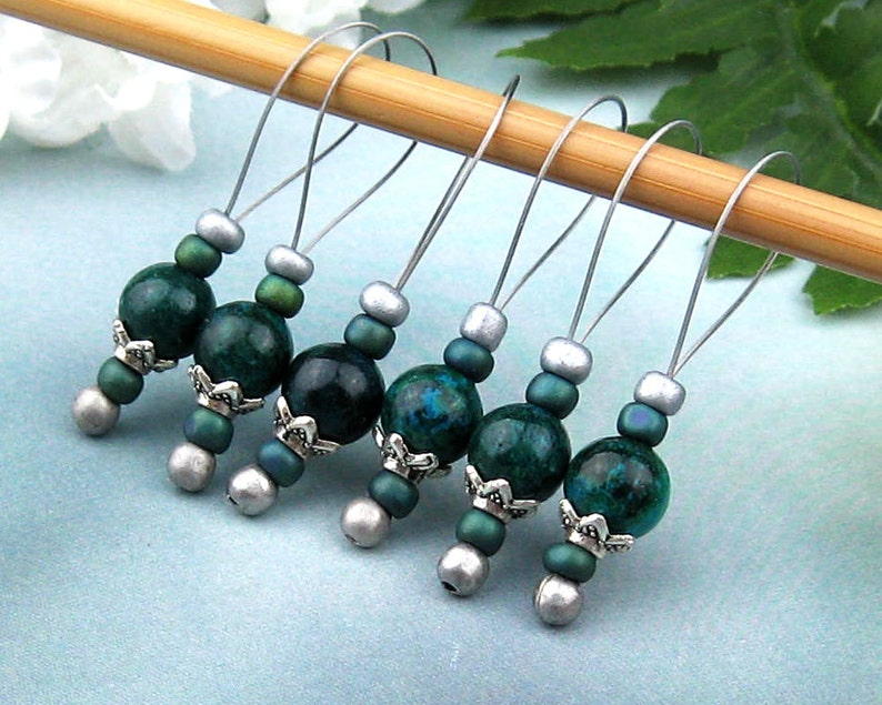 Knitting Accessory Gemstone Beads Jeweled Tool Australian Jade Loop Markers Gift for Knitters Stitch Markers for Knitting Snag Free