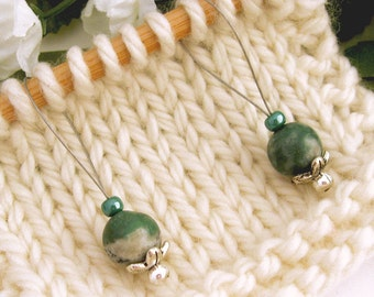 Knitting, Stitch Markers, Tree Agate, Semi-Precious Stones, Snag Free, Green, Jeweled Tool, Knitting Accessory, Supplies, Gift for Knitters