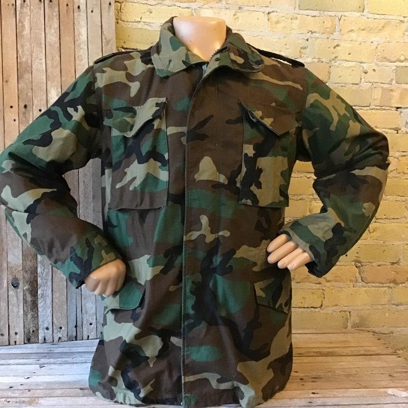 0f887ae8574 Vintage woodland camouflage military jacket medium long