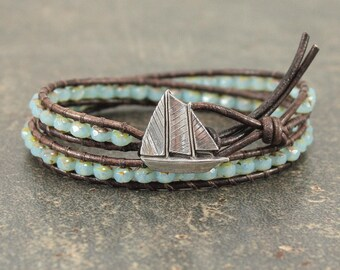 c7aa2decfdb2 Sailboat Jewelry Silver Turquoise Sailboat Bracelet Sailing Jewelry Double  Leather Wrap Bracelet Nautical Bracelet