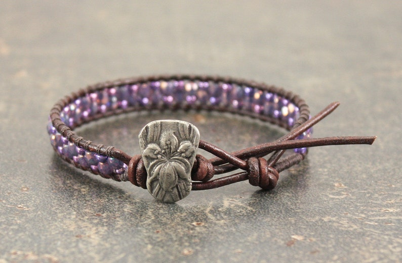 Purple Iris Bracelet Beaded Leather Iris Jewelry Flower image 1