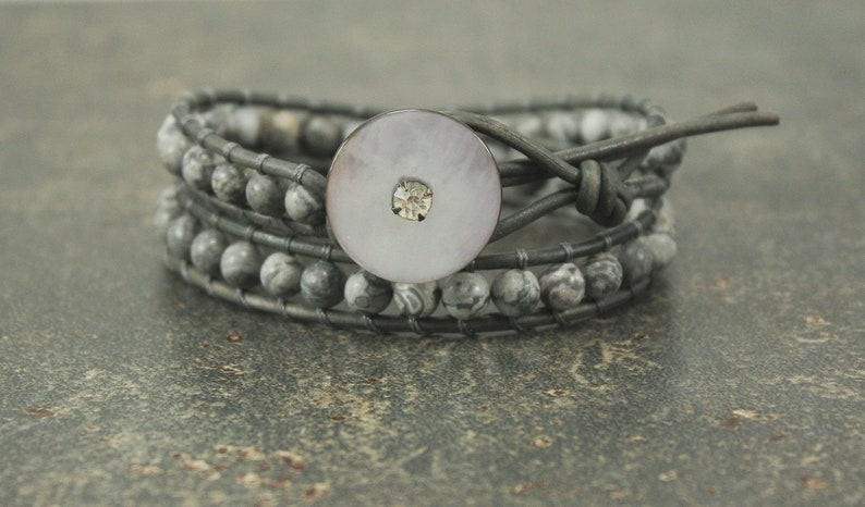 Gray Leather Wrap Bracelet One of a Kind Gemstone and Vintage image 0