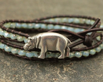 Boho Hippo Jewelry Silver and Turquoise Hippo Bracelet