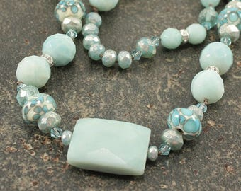 Long Turquoise Necklace One of a Kind Bohemian Statement Jewelry Amazonite Necklace Artisan Gemstone Jewelry