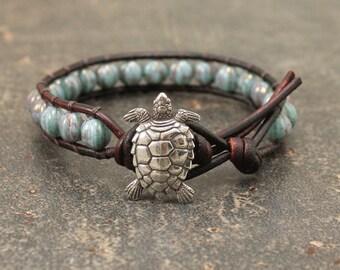Aqua Turquoise Turtle Bracelet Beaded Leather Turtle Jewelry