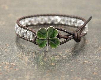 Irish Jewelry Green Silver Four Leaf Clover Bracelet Beaded Leather Celtic Jewelry