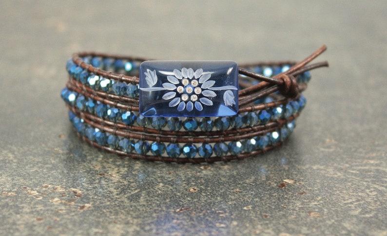 Crystal Sunflower Bracelet Blue Sunflower Jewelry image 0