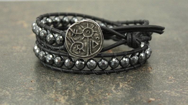 Bold Hematite Wrap Bracelet Silver Black Gunmetal Gray Leather image 0