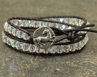 Sparkling Horse Jewelry Crystal Aurora Borealis Horse Bracelet Unique Equestrian Jewelry