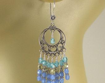 Colorful Chandelier Earrings Sterling Silver Gypsy Earrings Hippie Chic Jewelry Turquoise Blue Green Chandelier Earrings