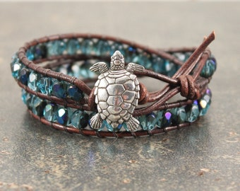 Bold Turtle Bracelet Turquoise Blue Turtle Jewelry Leather Turtle Wrap Bracelet