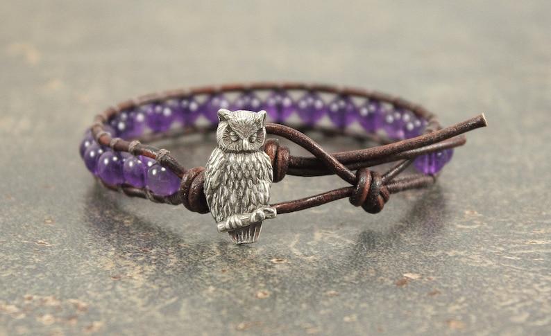Purple Owl Bracelet Amethyst Owl Jewelry image 0