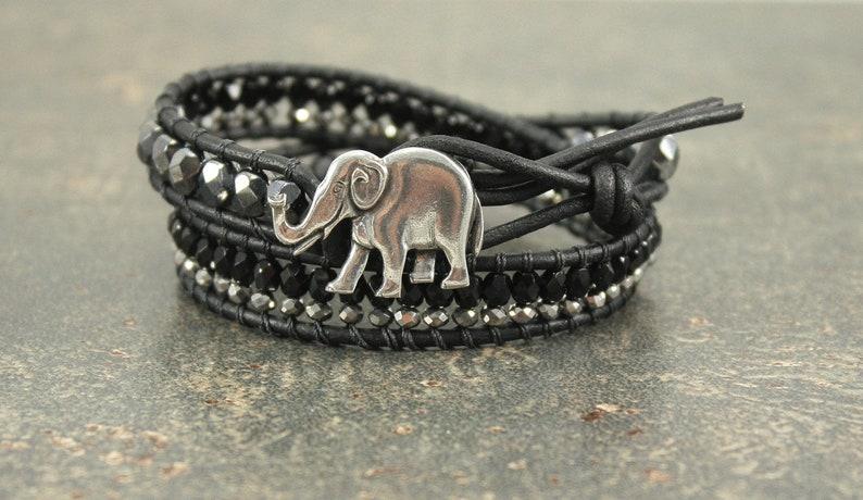 Bold Elephant Bracelet Silver Gunmetal Gray Black Elephant image 0