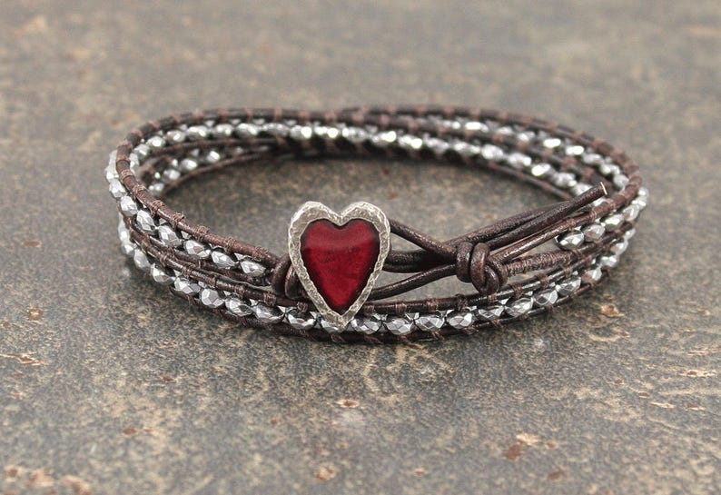 Red and Silver Heart Jewelry Delicate Beaded Leather Heart Bracelet Hematite and Leather Wrap Bracelet Valentines Jewelry
