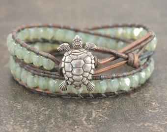 Turtle Jewelry Silver Gray Sage Green Turtle Bracelet Sparkling Beaded Leather Wrap Bracelet