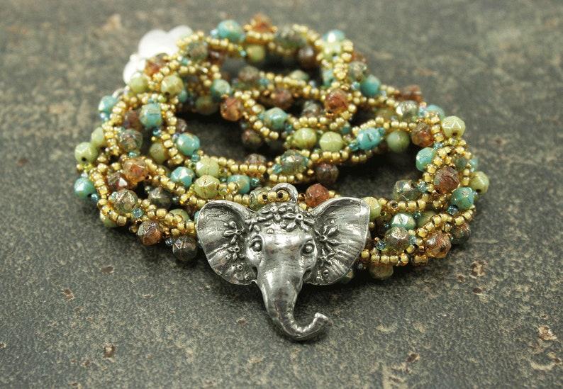 Hand Beaded Elephant Necklace Silver Topaz Cream Blue image 0