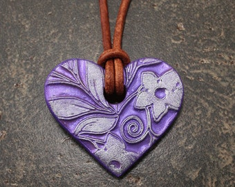Purple Heart Necklace  Leather Necklace Floral Pendant Necklace Artisan Heart Jewelry Valentine's Jewelry