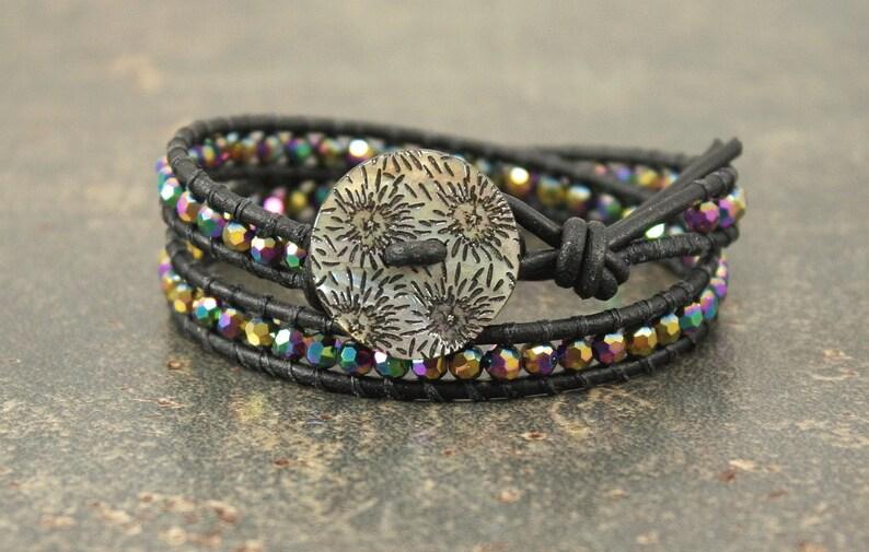 Sparkling Black Leather Wrap Bracelet Colorful Crystal and image 0
