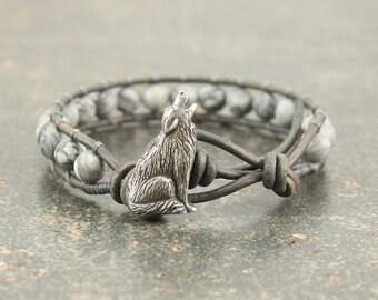 Gray Wolf Bracelet Howling Wolf Jewelry Gemstone and Leather Wrap Bracelet