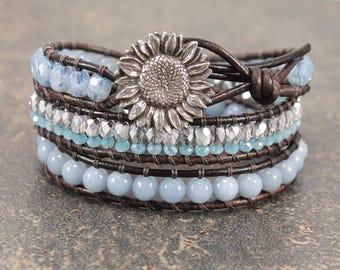Artisan Sunflower Jewelry Silver Pale Blue Turquoise Sunflower Bracelet Unique Beaded Leather Wrap Bracelet Bold Shabby Boho Chic Jewelry