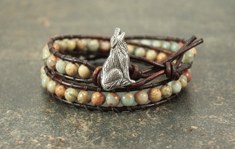 Gemstone Wolf Bracelet Off White Turquoise Coral Wolf Jewelry image 0