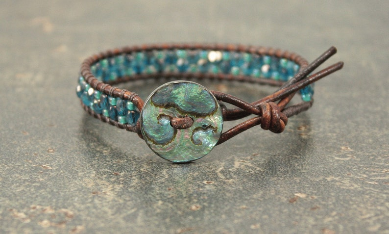Abalone Shell Bracelet Teal Turquoise Leather Wrap Bracelet image 0