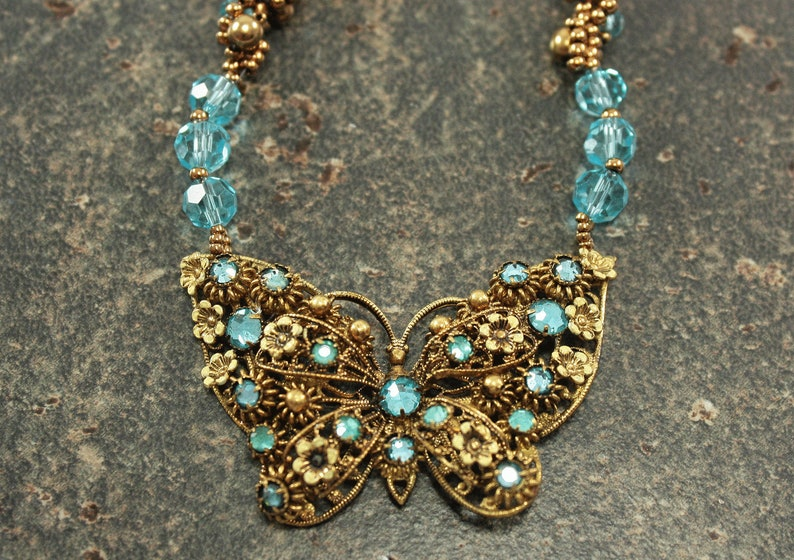 One of a Kind Butterfly Necklace Hand Beaded Bronze Turquoise image 0