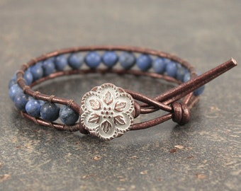 Shabby Boho Chic Jewelry Bronze Off White Denim Blue Bracelet Unique Beaded Leather Wrap Bracelet